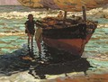 A fishing boat with children on the shore - Alberto Pla y Rubio