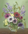 Anenomes, bluebells, primroses and catkins in a glass bowl - Alfred Walter Williams