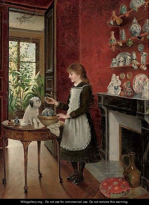 Young girl with her dog - Albert Roosenboom