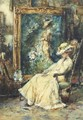 A pause from posing an elegant lady seated in the artist's studio - Albert Roelofs
