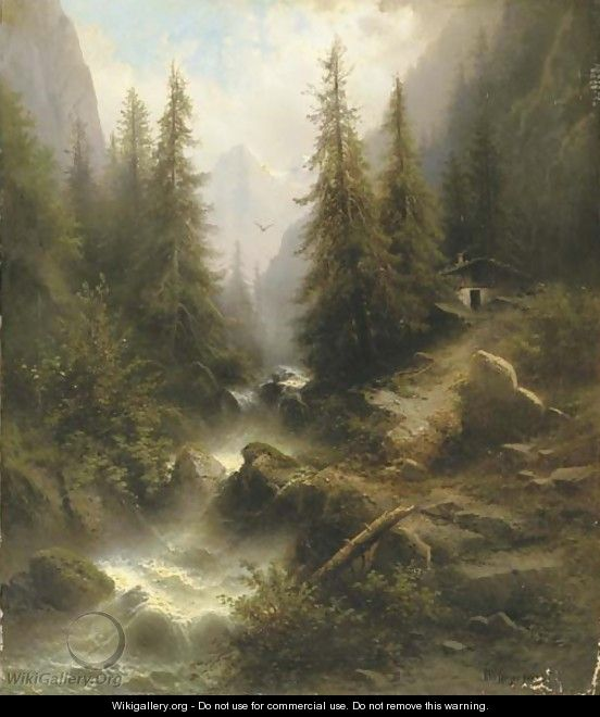 Waterfall cascading amongst pine trees in the Alps - Albert Rieger