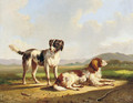 Two hunting dogs in a summer landscape - Albertus Verhoesen