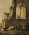 Poultry by a ruin 2 - Albertus Verhoesen