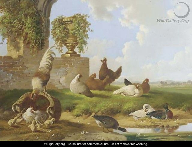 Poultry and ducks by a ruin - Albertus Verhoesen