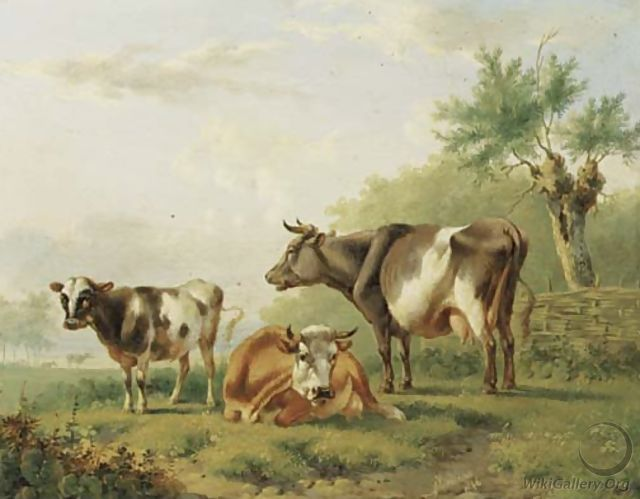 Cows by a fence - Albertus Verhoesen