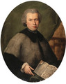 Portrait of Monsignor Francesco Dall'Acqua, half length, wearing a grey cloak and holding a copy of his book, in a library - Alessandro Longhi