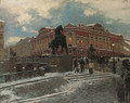 View of the Anichkov Bridge in St. Petersburg - Aleksandr Karlovich Beggrov