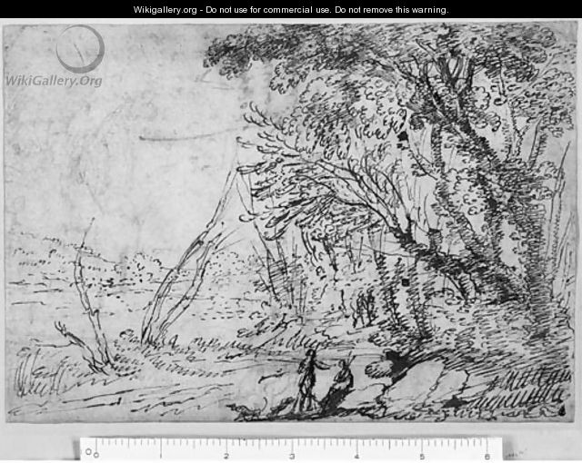 A wooded Landscape with Figures - Agostino Tassi