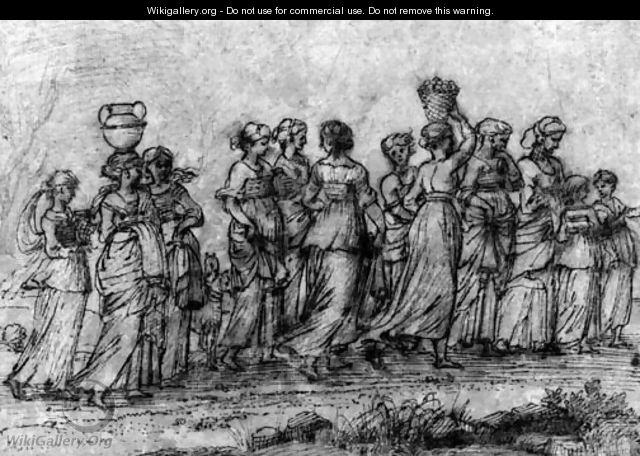 A group of women returning from the well - Agostino Tassi