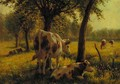 Cattle in a sunlit meadow - Albert Gaullet