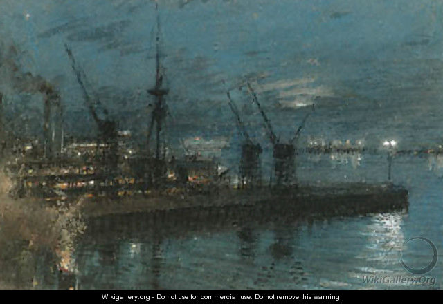 H.M.S. Kent - Night at Cape Town, South Africa - Albert Goodwin