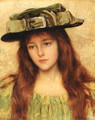 Young beauty in a green hat - Albert Lynch