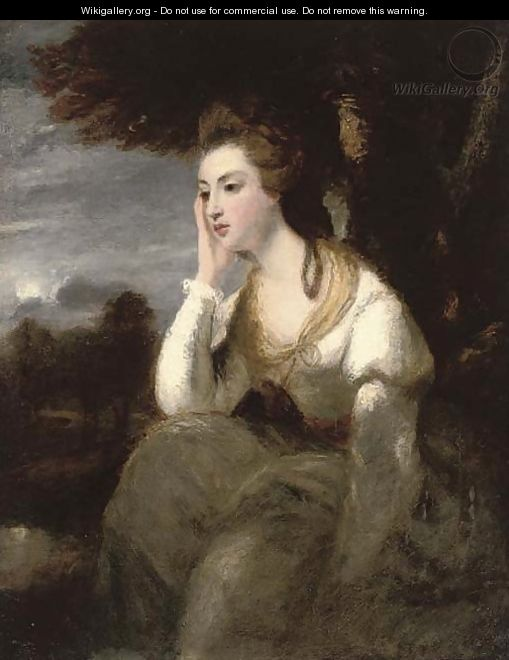 Portrait of the Hon. Mrs Stanhope, seated three-quarter-length, in a white dress, an extensive moonlit landscape beyond - (after) Sir Joshua Reynolds