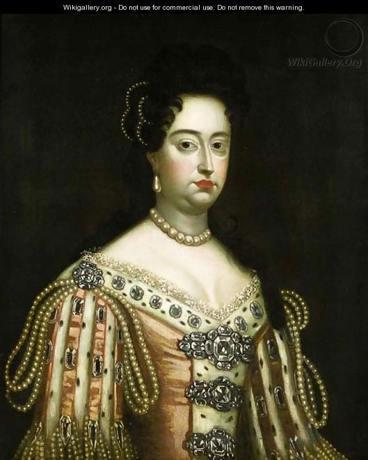 Portrait of Queen Mary II, half length, wearing an ermine-lin - Sir Godfrey Kneller