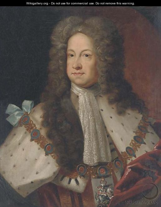 Portrait of King George I (1660-1727), half-length, in garter robes, in a feigned oval - Sir Godfrey Kneller