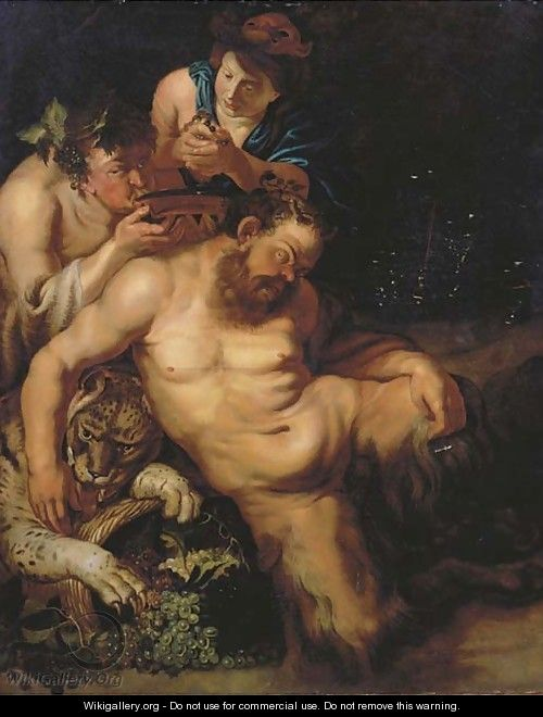 The Drunken Silenus attended by Bacchantes - (after) Sir Peter Paul Rubens