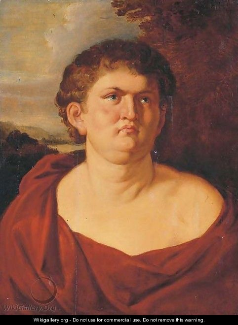 Portrait of Emperor Nero, half-length, in a red toga, a landscape beyond - (after) Sir Peter Paul Rubens
