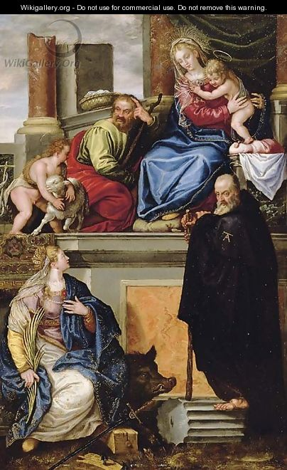 The Holy Family with the Infant Saint John the Baptist, Saint Anthony Abbot and Saint Catherine - Paolo Veronese (Caliari)