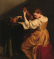 A woman tuning a lute, seated at a draped table with open manuscripts, a violin and wind instruments - (after) Orazio Gentileschi