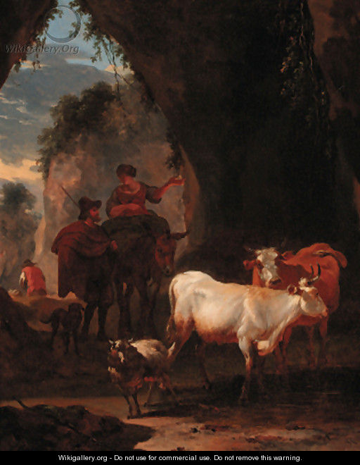 Peasants with cattle on a rocky pass - (after) Nicolaes Berchem