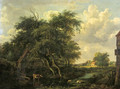 A watermill in a wooded landscape in summer - (after) Meindert Hobbema