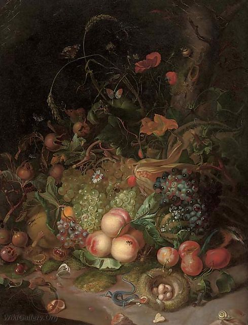 Apples, pears, grapes, corn, pomegranates, a birds nest with eggs, butterflies, a lizard and other insects in a wooded clearing - (after) Rachel Ruysch