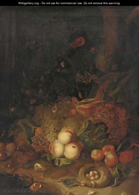 Apples, pears, grapes, corn, pomegranates, a birds nest with eggs with butterflies, a lizard and other insects in a wooded clearing - (after) Rachel Ruysch