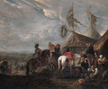 Heralds halting at a blacksmith's near an encampment - (after) Philips Wouwerman
