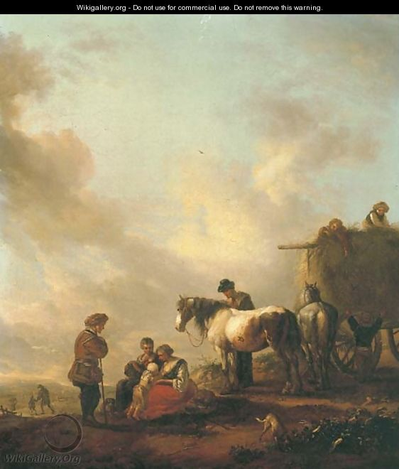 Figures resting before a haycart - (after) Philips Wouwerman