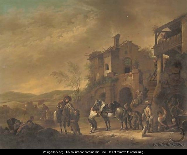 Cavalrymen at rest by a farrier; and Cavalrymen setting out from a barn - (after) Philips Wouwerman