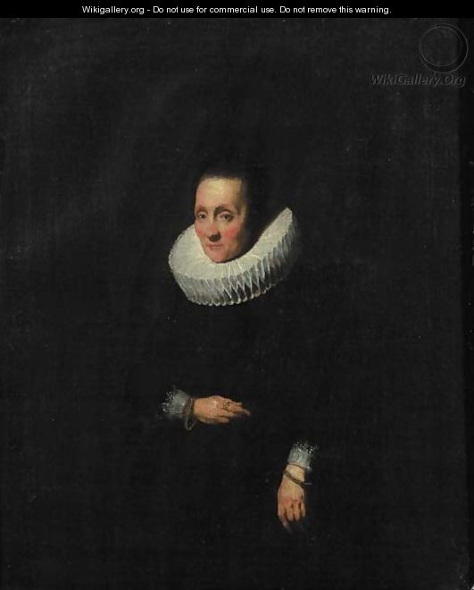 Portrait of a lady, aged 58, small three quarter length, wearing a black dress with molenkraag and cuffs, golden bracelets - Sir Anthony Van Dyck
