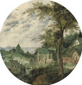 A river landscape with a town, a palace and a church - (after) Frans Mostaert