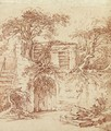 A garden shed built in the ruins of an old cottage overgrown with trees - (after) Francois Boucher