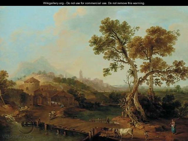 A river landscape with a shepherdess, a city beyond - (after) Francesco Zuccarelli