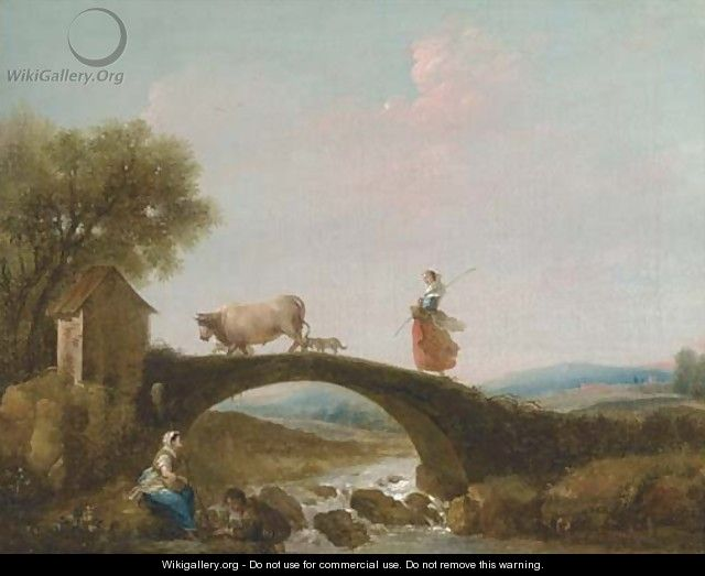 A river landscape with a girl walking over a bridge, anglers beneath - (after) Francesco Zuccarelli