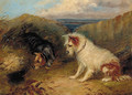 Terriers by a rabbit hole - (after) George Armfield