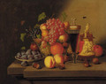 Grapes, oranges, peaches, pears and plums in a glass bowl - (after) Georg (Johann G.) Seitz
