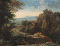 An Italianate landscape with figures by a path - (after) Gaspard Dughet Poussin