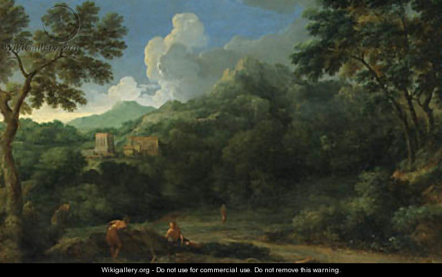 An Italianate Landscape with Figures, a village beyond - (after) Gaspard Dughet