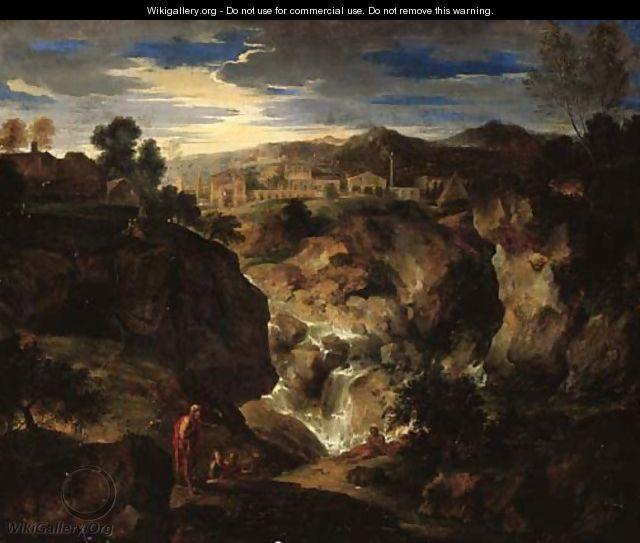A rocky landscape with figures by a waterfall and a town beyond - (after) Gaspard Dughet Poussin