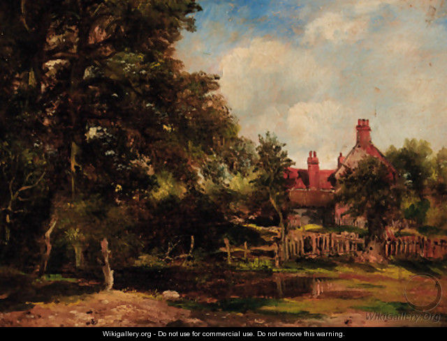 A cottage in a wooded landscape - (after) Frederick William Watts