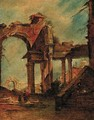 A capriccio of a ruined arch and colonnade, a dome beyond - (after) Giacomo Guardi