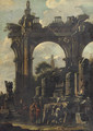 An architectural 'capriccio' with ancient ruins and two figures discussing a bass relief - (after) Giovanni Ghisolfi