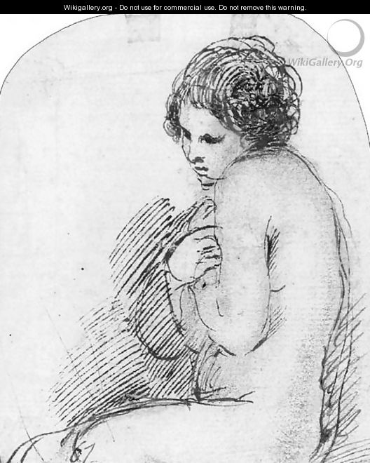 A seated female nude, her hands clasped across her chest - (after) Giovanni Francesco Guercino (BARBIERI)