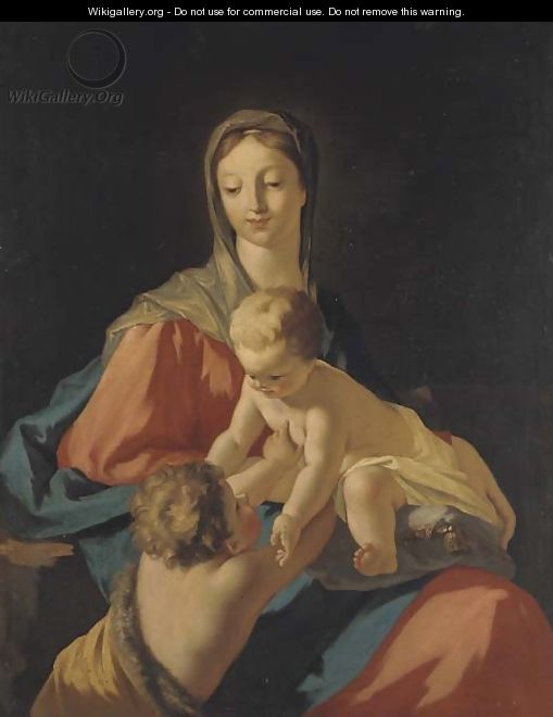The Madonna and Child with the infant Saint John the Baptist - (after) Giovanni Antonio Pellegrini