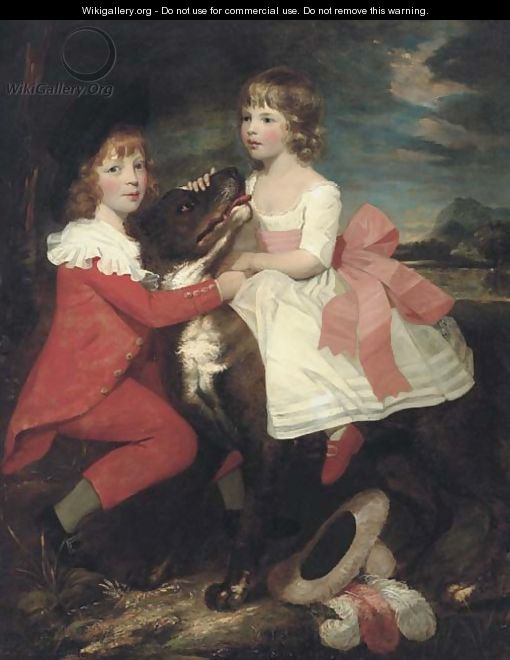 Portrait of two children with a dog - (after) Gilbert Stuart