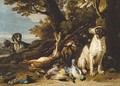 Hounds with dead game and a rifle in a landscape - (after) David De Coninck