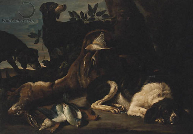 A Hunt Still Life with Hounds and a Spaniel guarding dead Game - (after) David De Coninck
