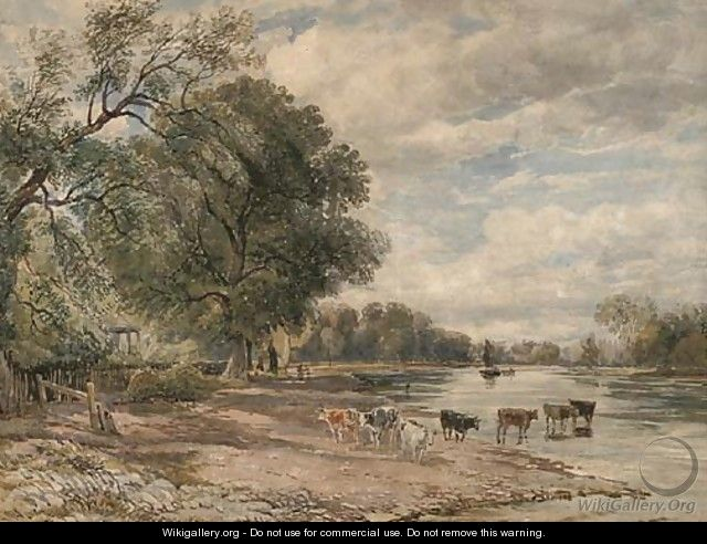 Cattle watering on the Thames at Richmond - (after) Cox, David