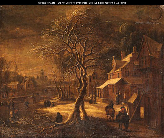 A Winter Landscape with Travellers on a Path in a Village, a frozen Waterway nearby - (after) Daniel Van Heil